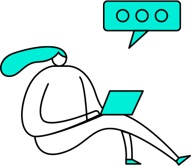 Illustration of person with computer